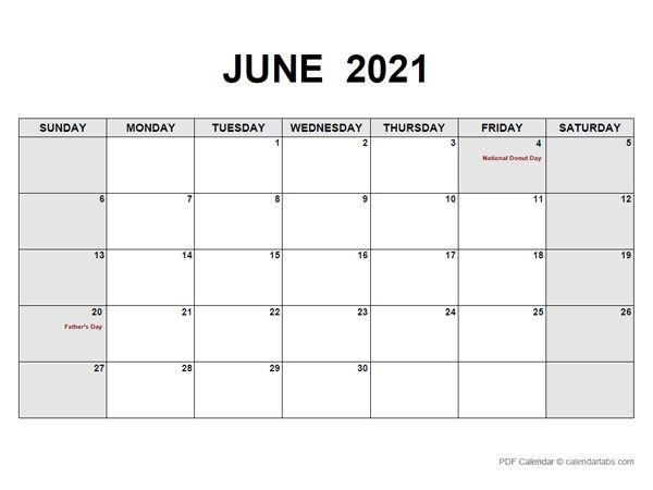 June 2021 Calendar | Calendarlabs