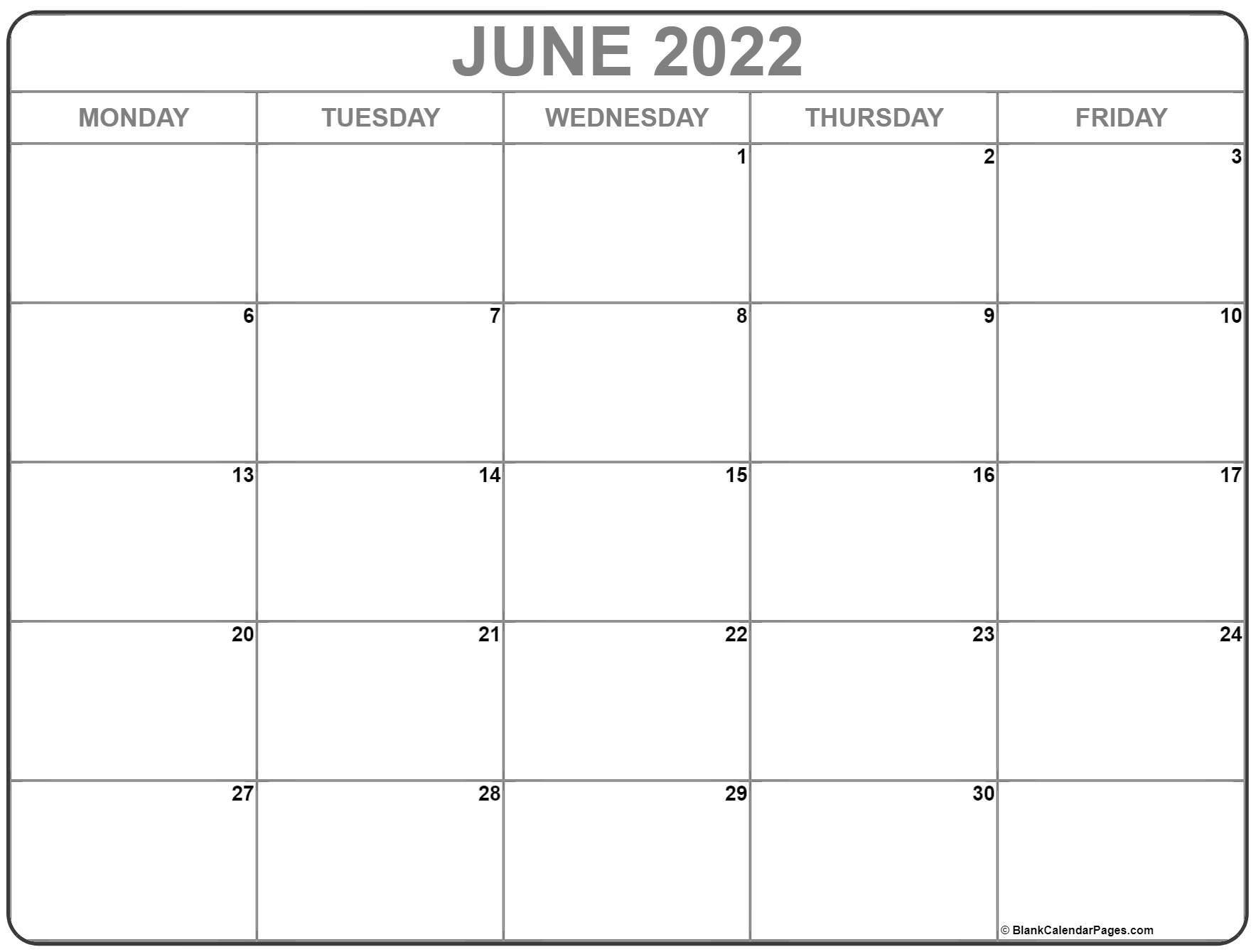 june 2022 monday calendar | monday to sunday