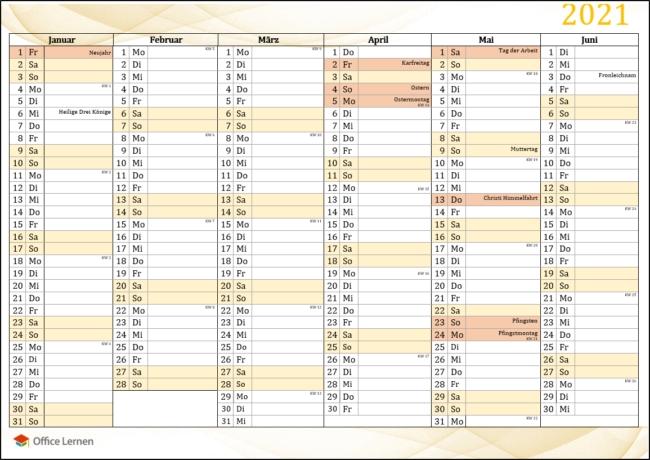 kostenlose kalendervorlagen 2021 für word und excel