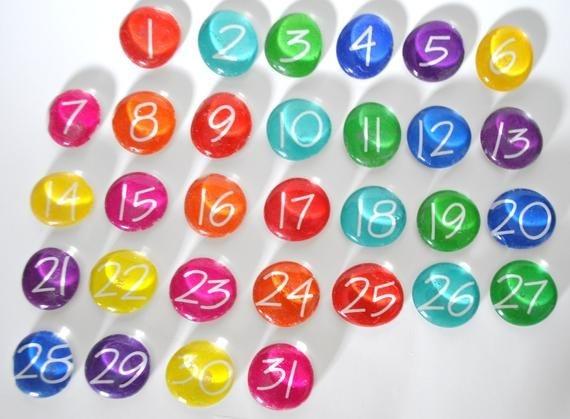 large 31 number magnets or push pin calendar set 2018