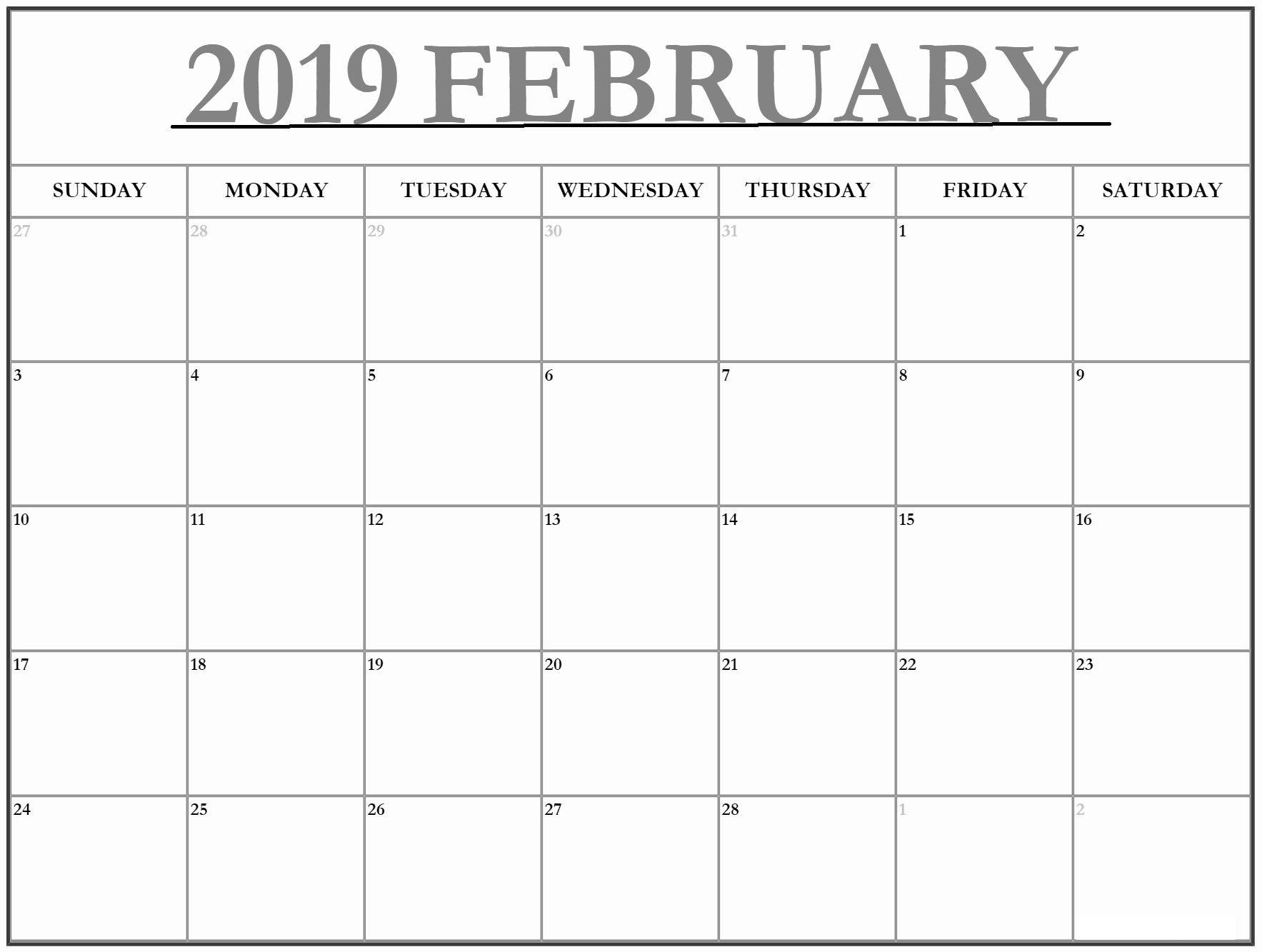 Large Print Calendar Template 2019 | Free Printable Calendar