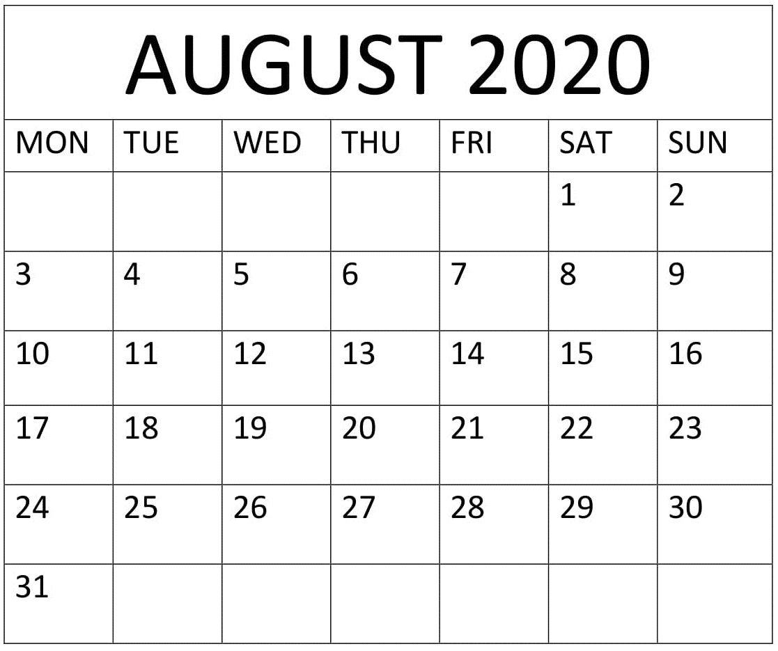 Large Printable July 2020 Calendar | Example Calendar