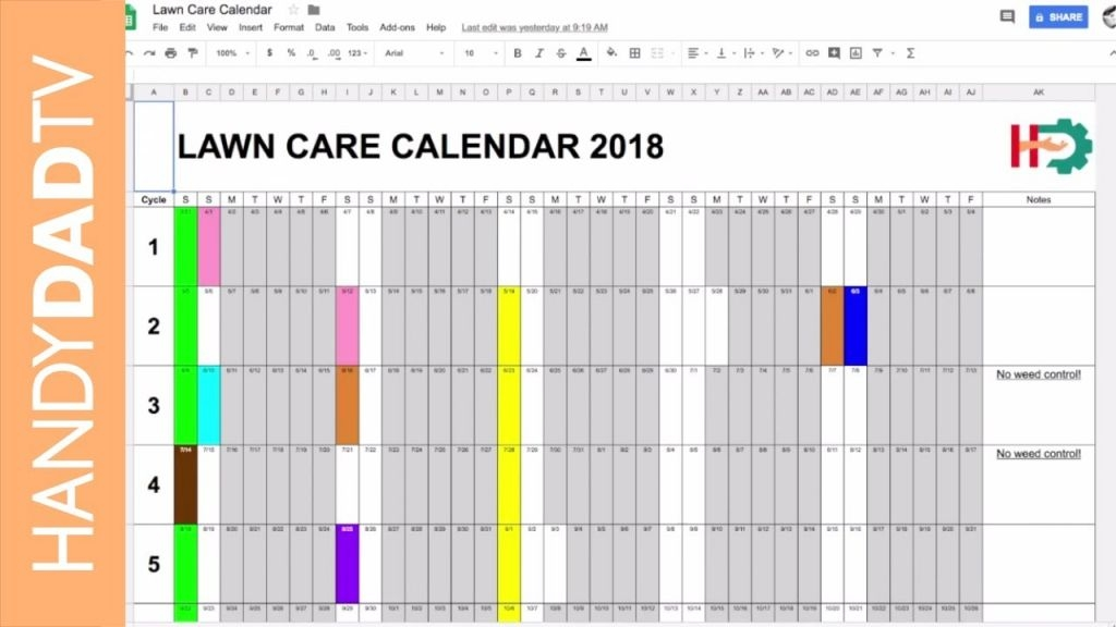 lawn care schedule spreadsheet calendar template 2021