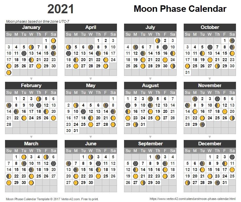 Lunar Calendar 2021 Free / 2021 Moon Phases Vector Photo