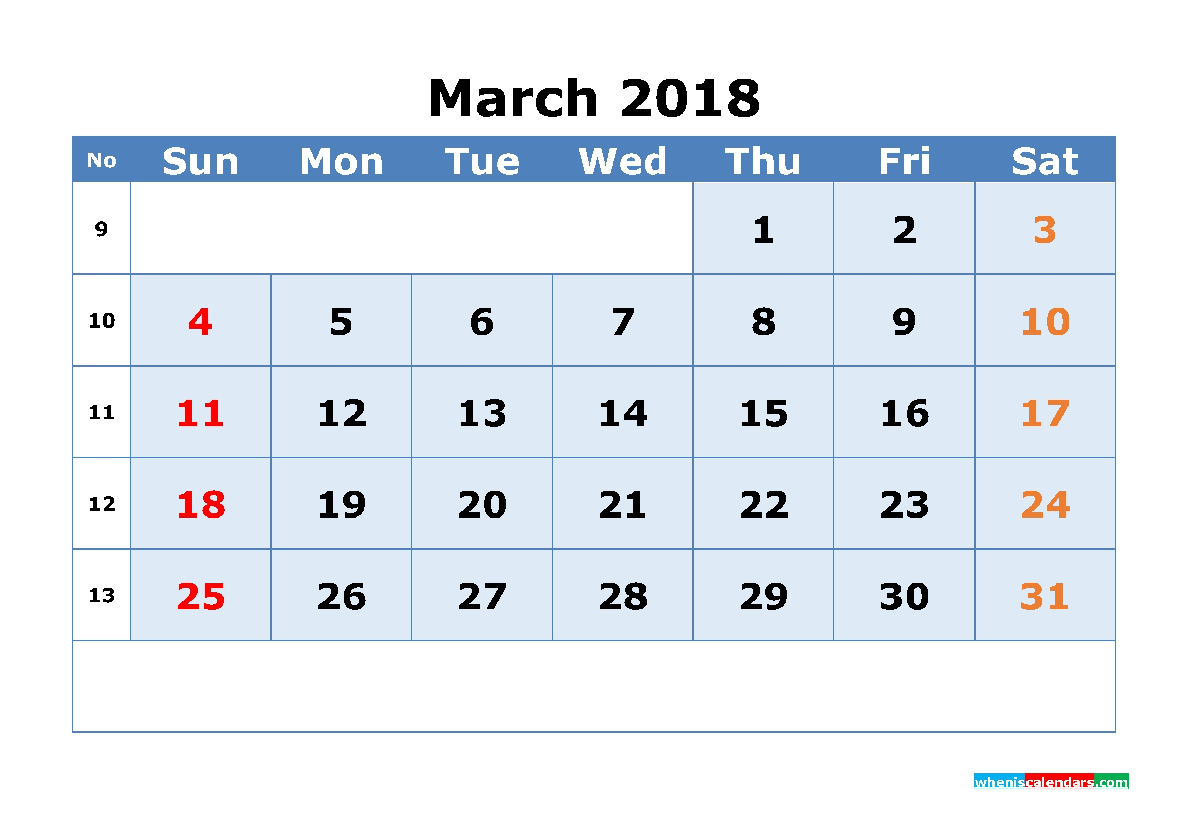 march 2018 calendar with week numbers printable 1 month