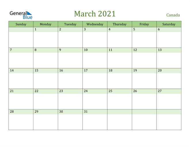 march 2021 calendar canada