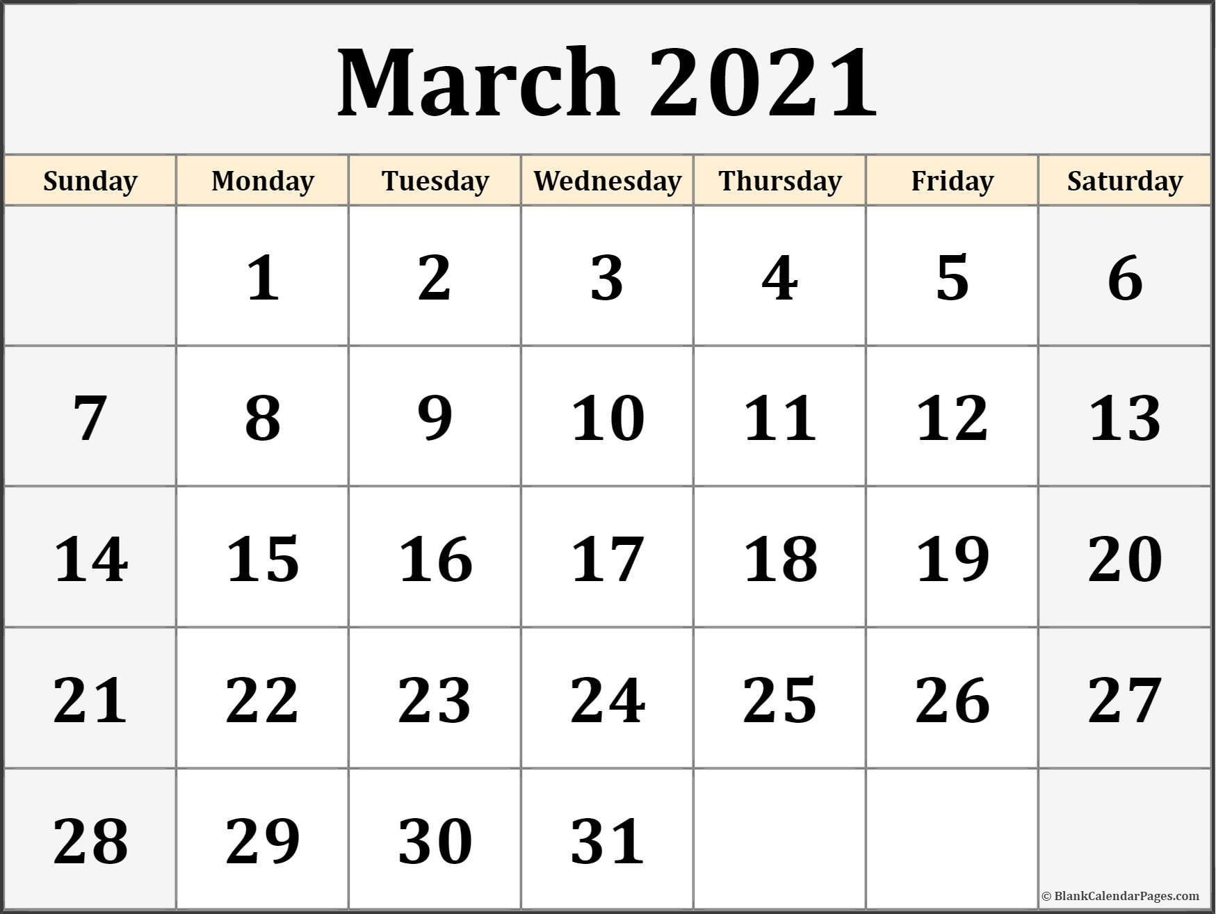 March 2021 Calendar | Free Printable Calendar Templates