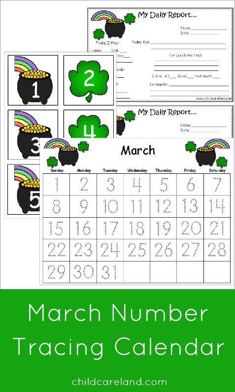 march number tracing calendar