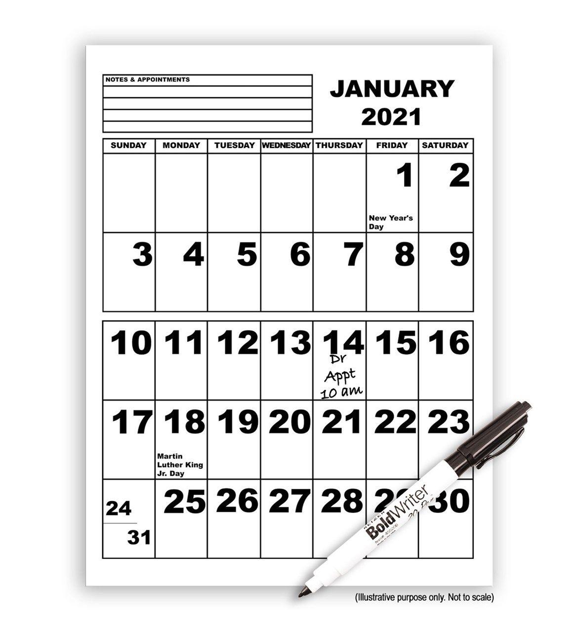 maxiaids   jumbo print calendar 2021 with boldwriter