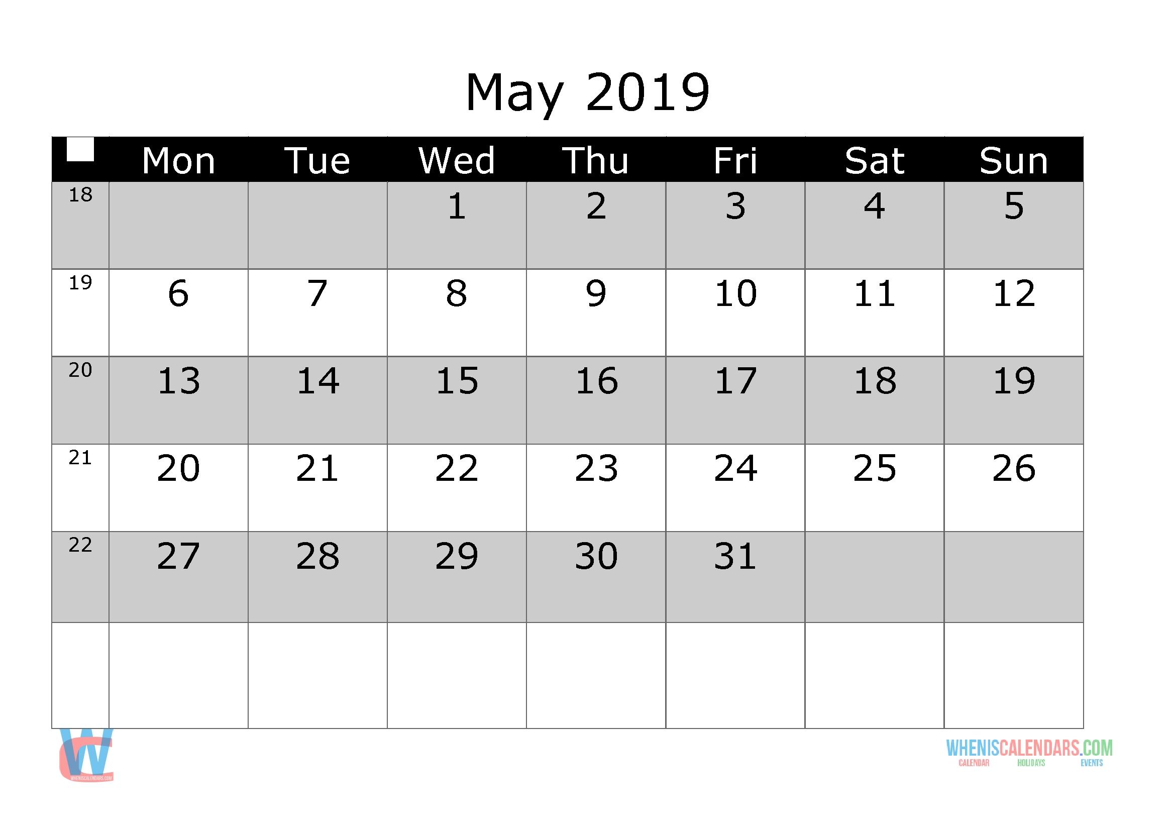 May 2019 Printable Calendar With Week Numbers Monday