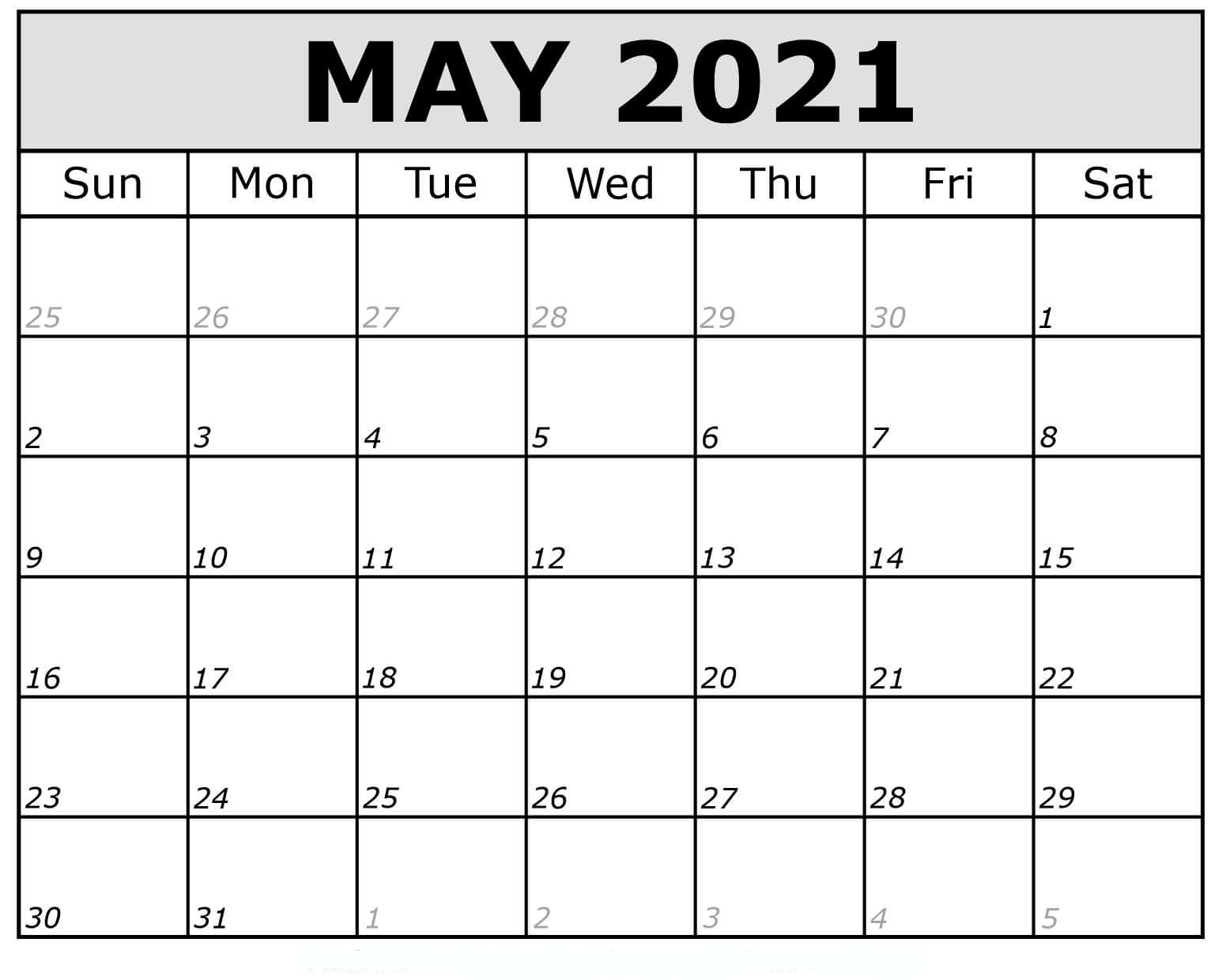 May 2021 Calendar Printable Pdf Mycalendarlabs