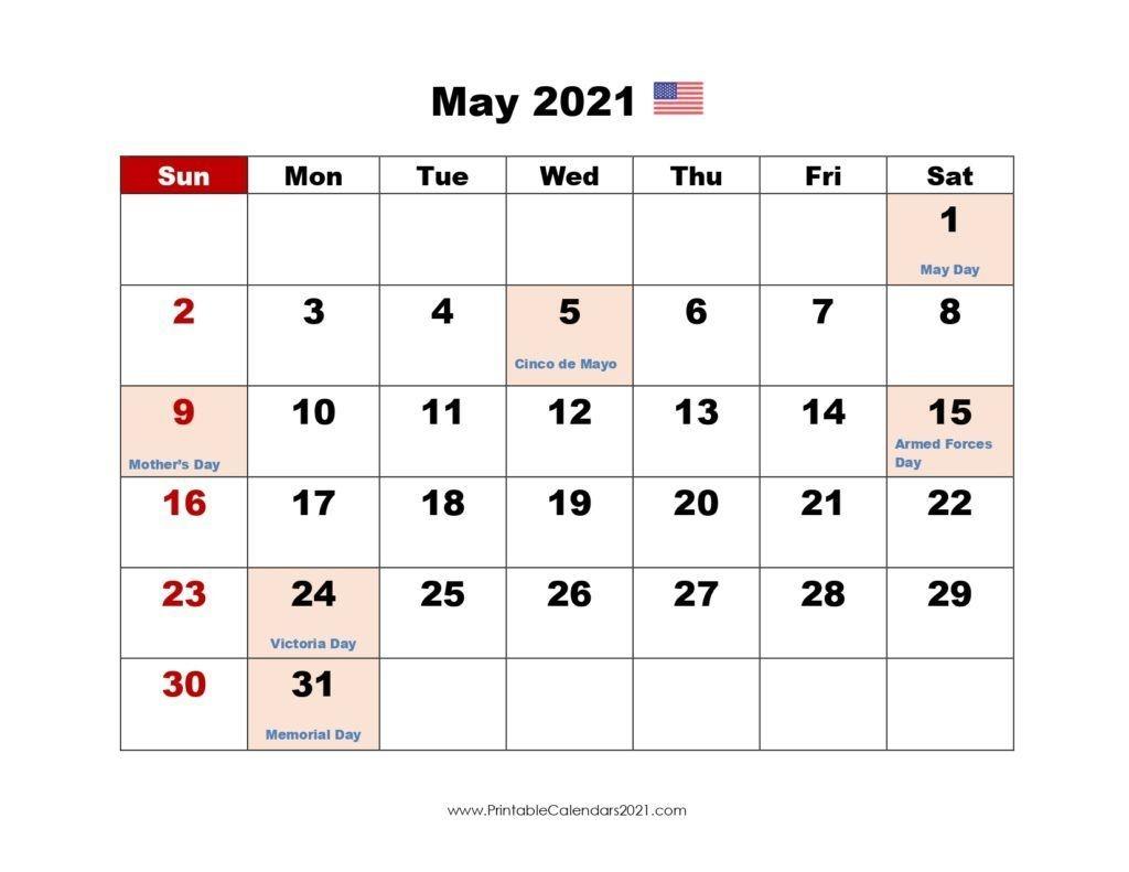 May 2021 Calendar With Holidays | Printable Calendars 2021