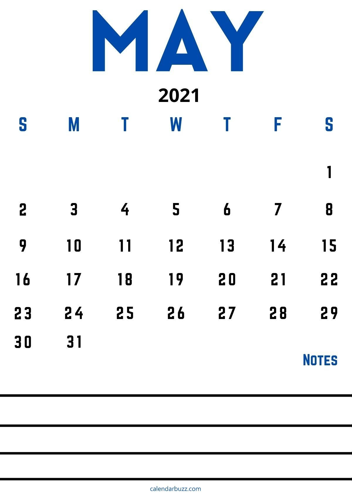 may 2021 calendar with space for notes free download