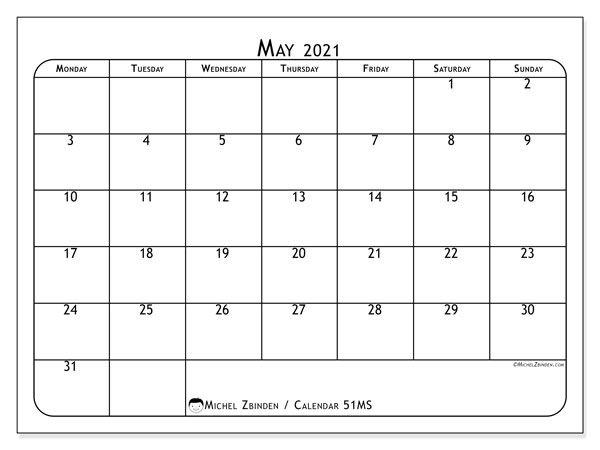 "may 2021 calendars ""monday sunday"" michel zbinden en"