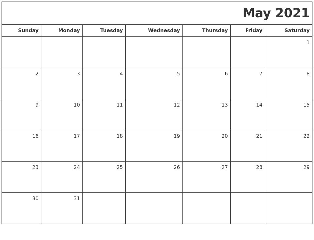 may 2021 printable blank calendar
