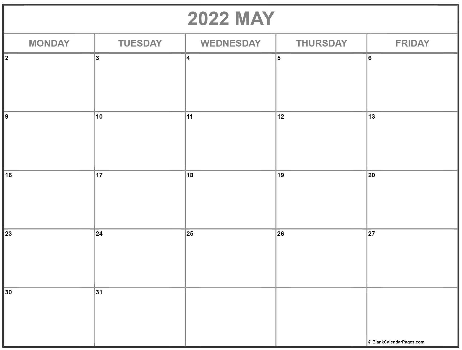 may 2022 monday calendar | monday to sunday