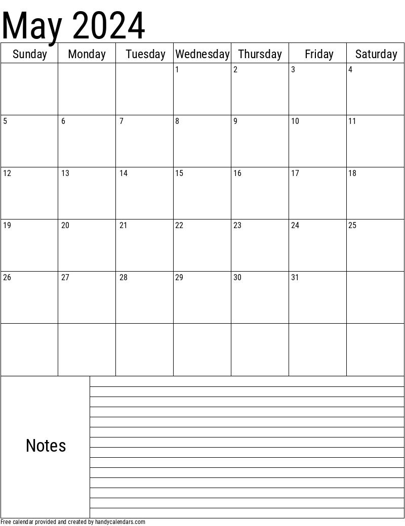 May 2024 Calendar Handy Calendars