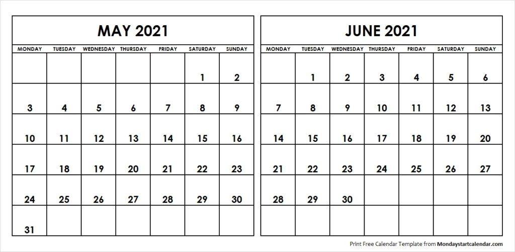may june 2021 calendar monday start | editable two months