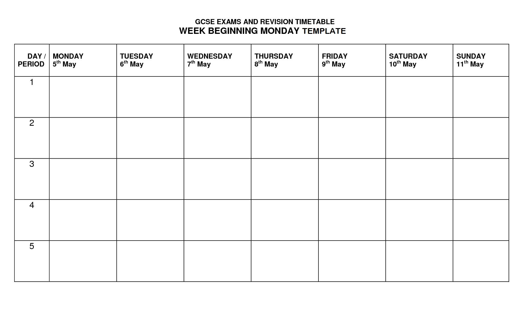 Monday Friday Timetable Template | Example Calendar