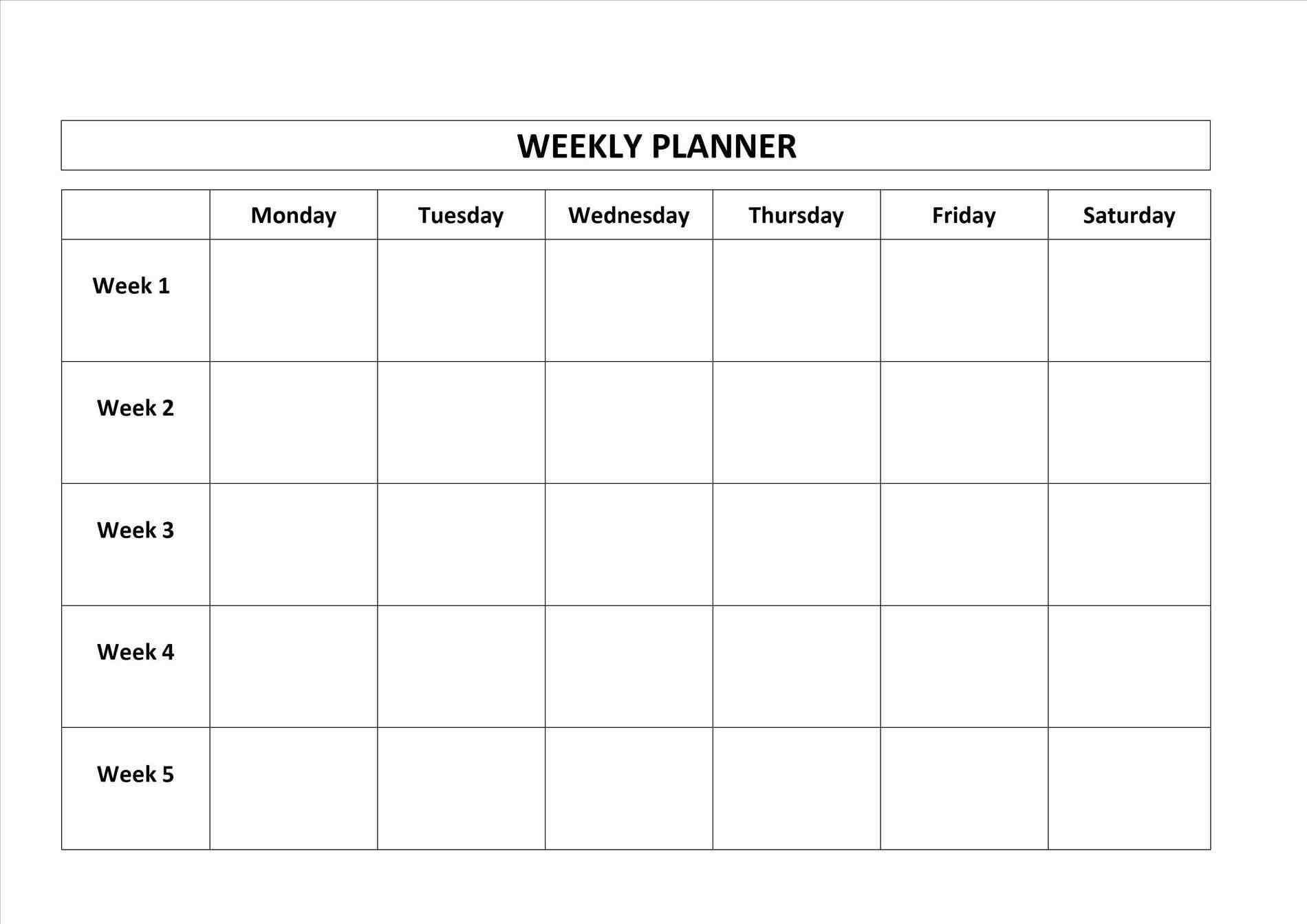 monday through friday blank calendar template calendar