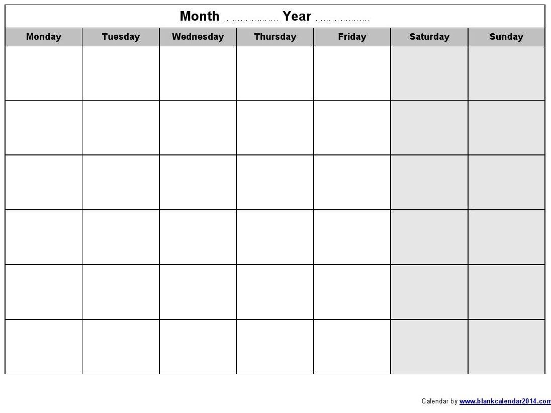 Monday Through Sunday Printable Calendar : Free Calendar