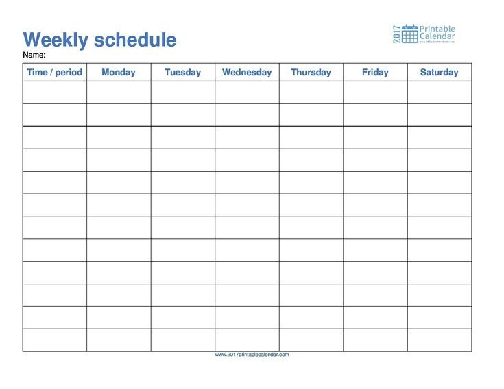 Monday To Friday Schedule Template Calendar Printable