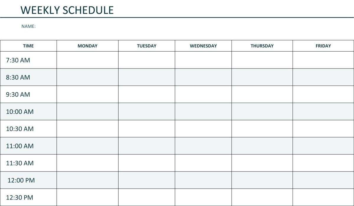 Monday To Friday Schedule Template | Example Calendar