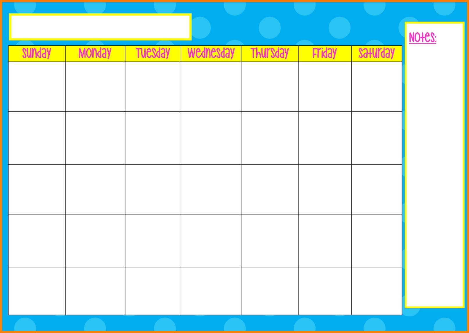 Monday To Friday Tempate Printable : Free Calendar Template