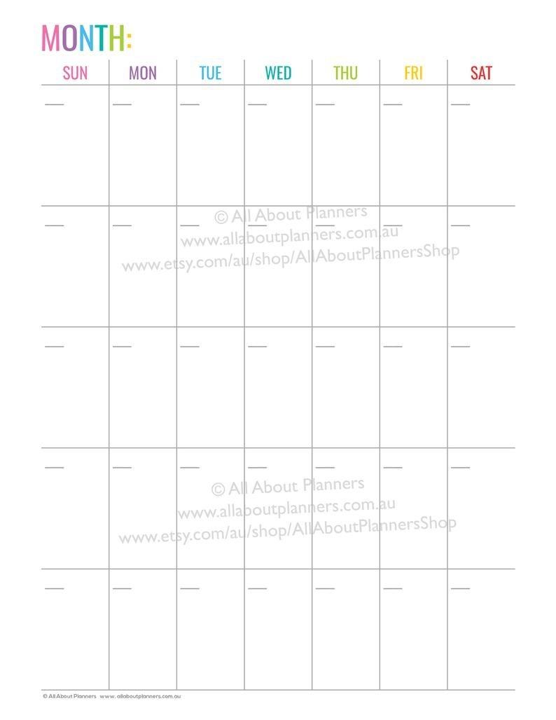 monthly calendar printable 1 page monday sunday start