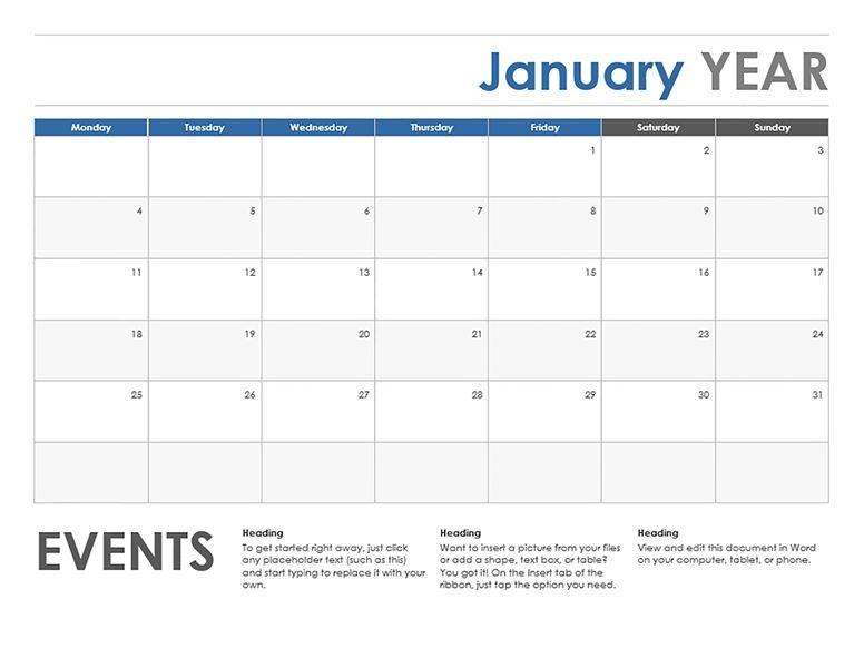 Monthly Calendar Starting With Monday Calendar Printable