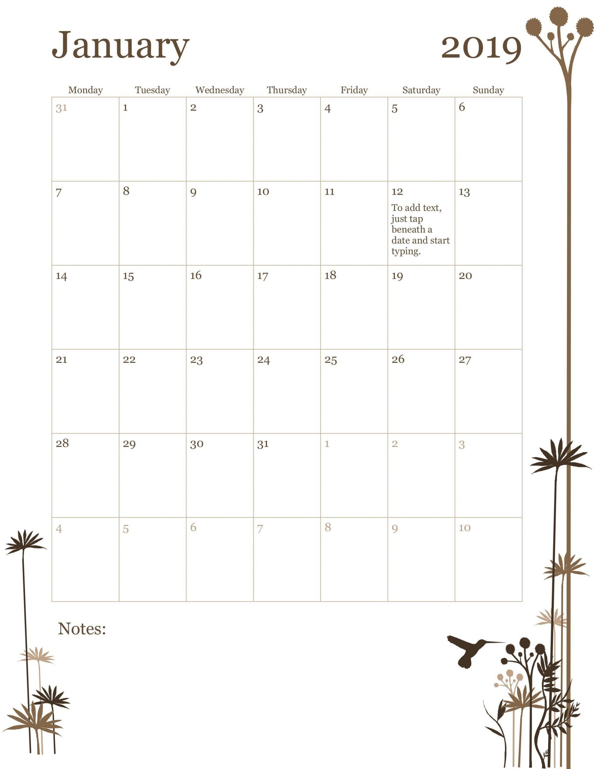Monthly Calendar Type In | Example Calendar Printable
