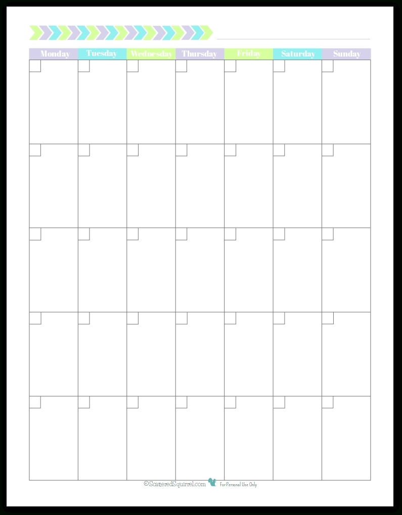 Monthly Calender Starting With Monday | Calendar Template