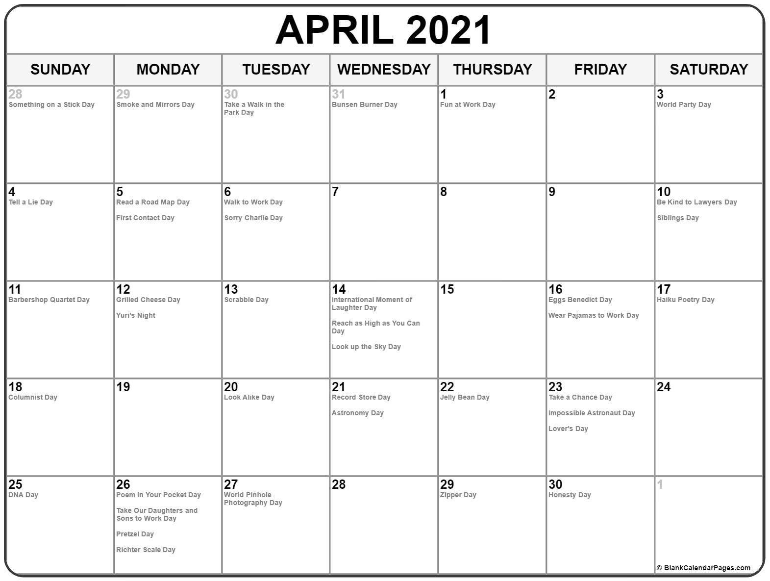 National Calendar April 2021 | Printable March