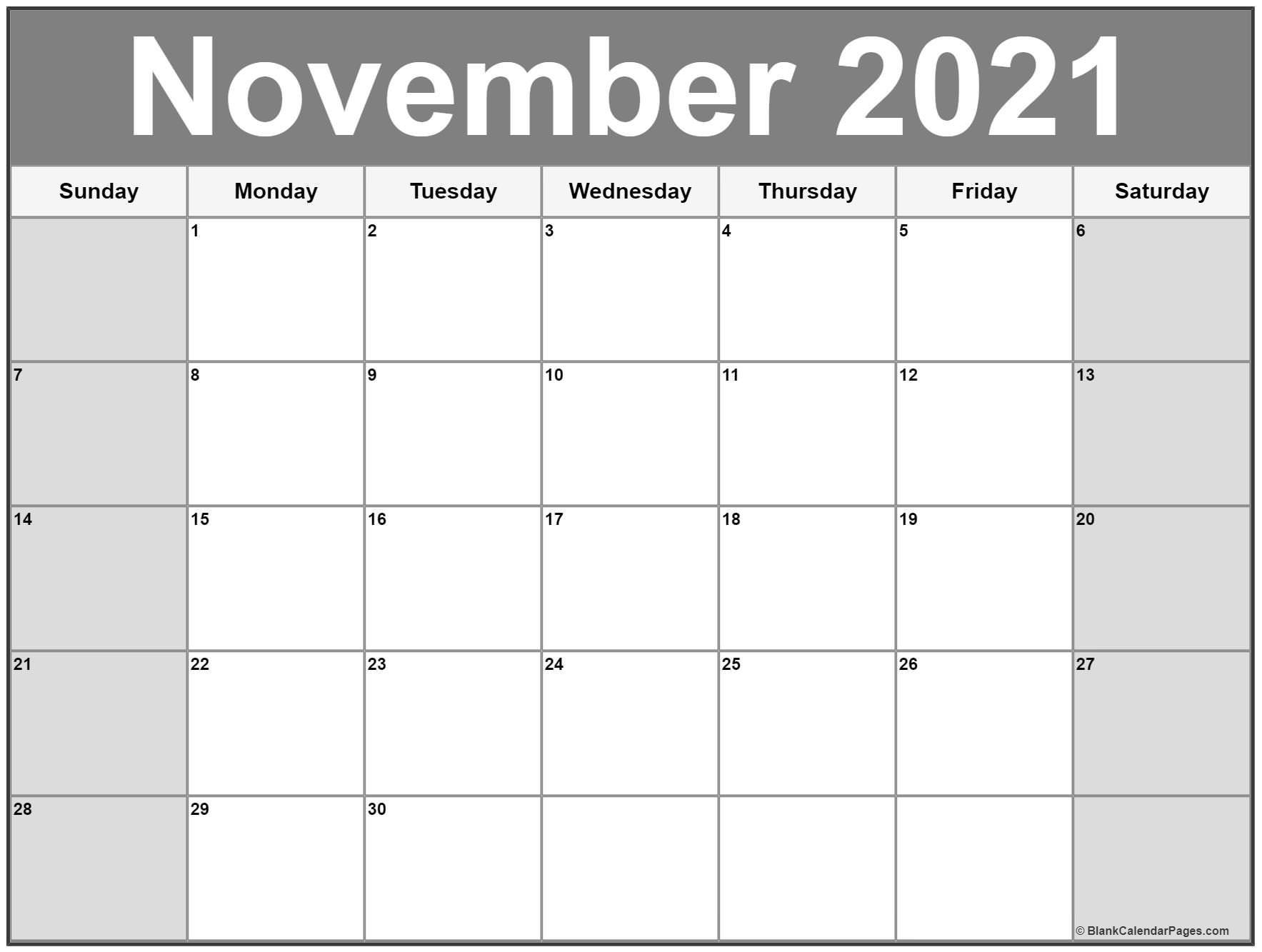 November 2021 Calendar | 56 Templates Of 2021 Printable