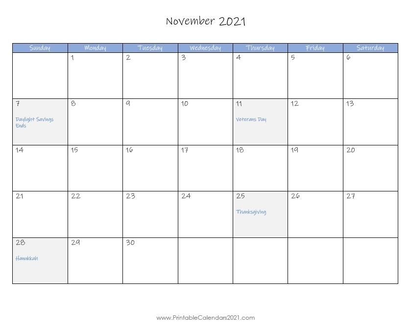 november 2021 fill in calendar | calendar template printable