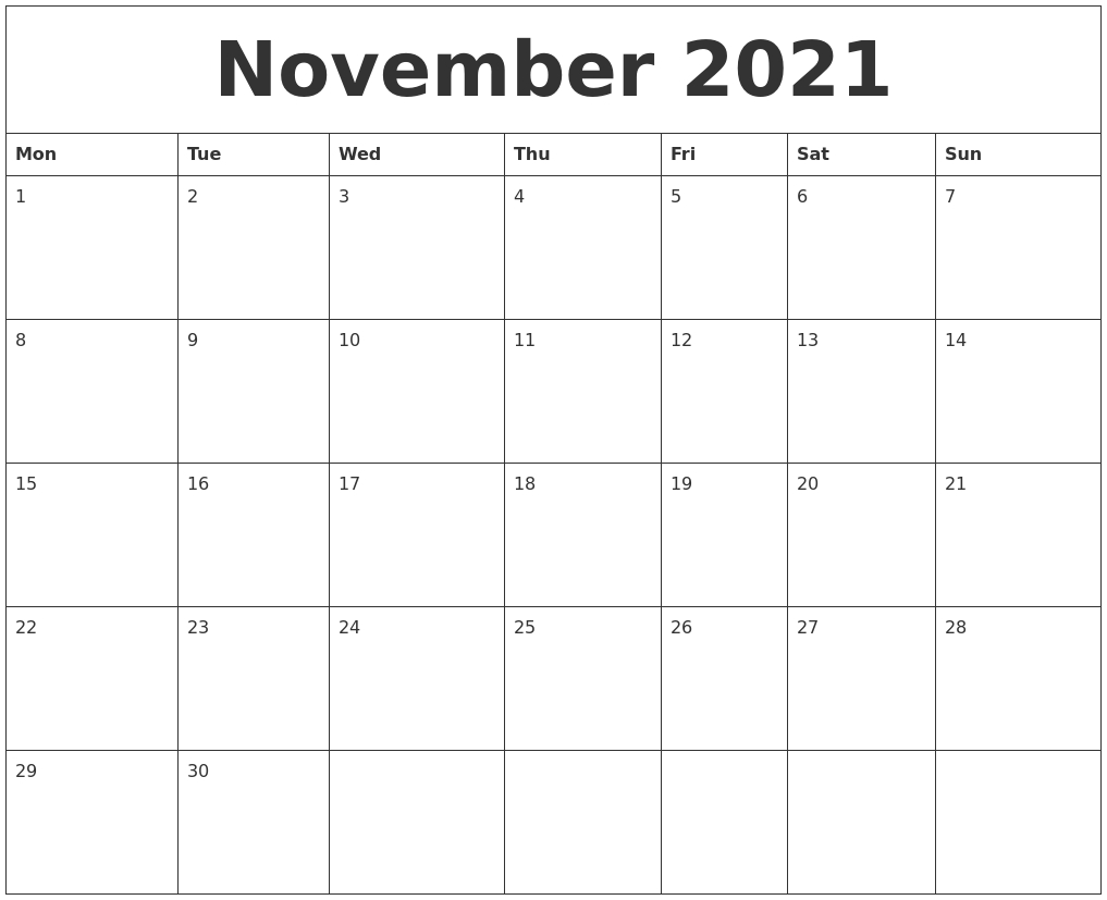 November 2021 Free Blank Calendar