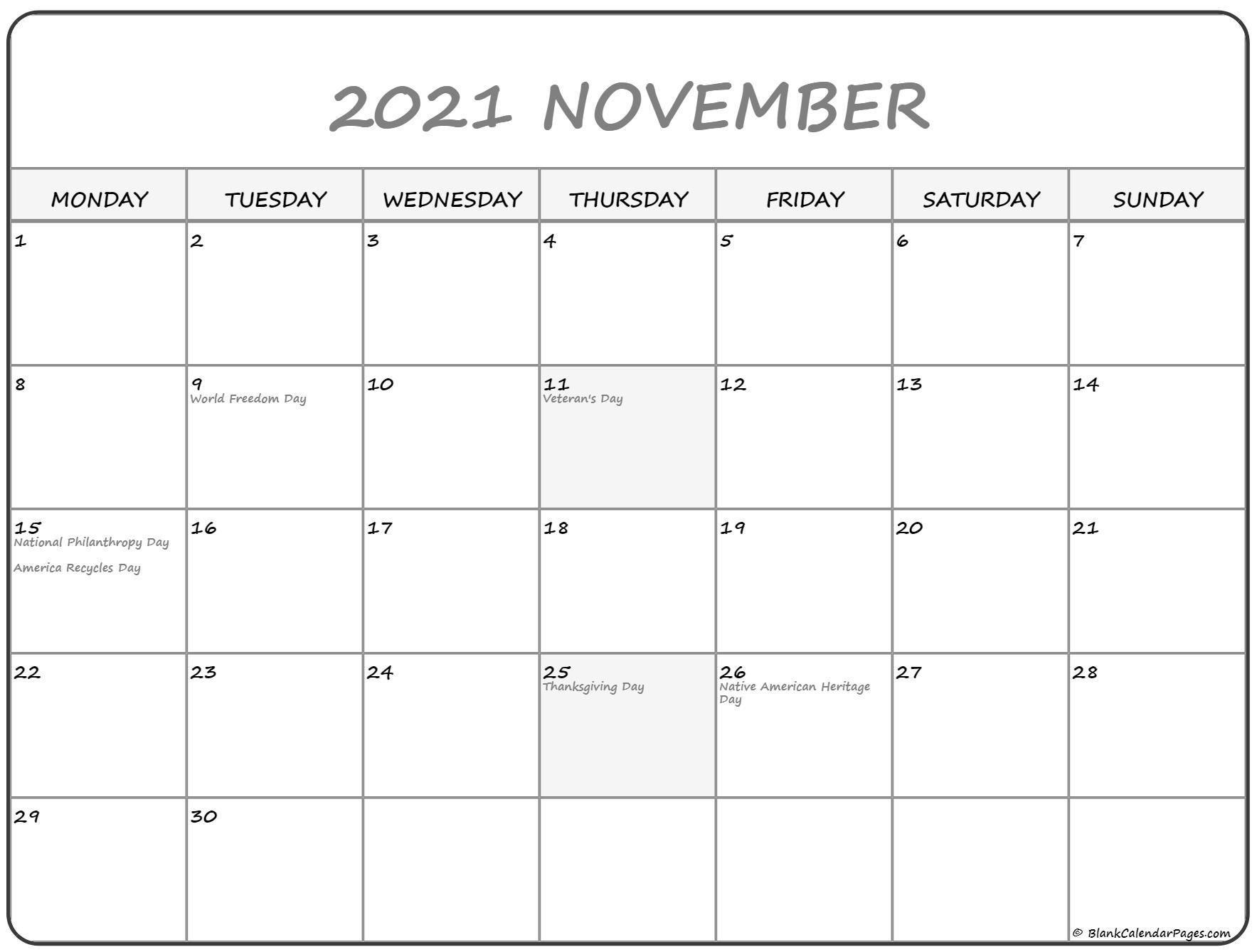 november 2021 monday calendar monday to sunday calendar