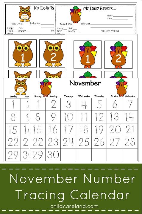 november number tracing calendar