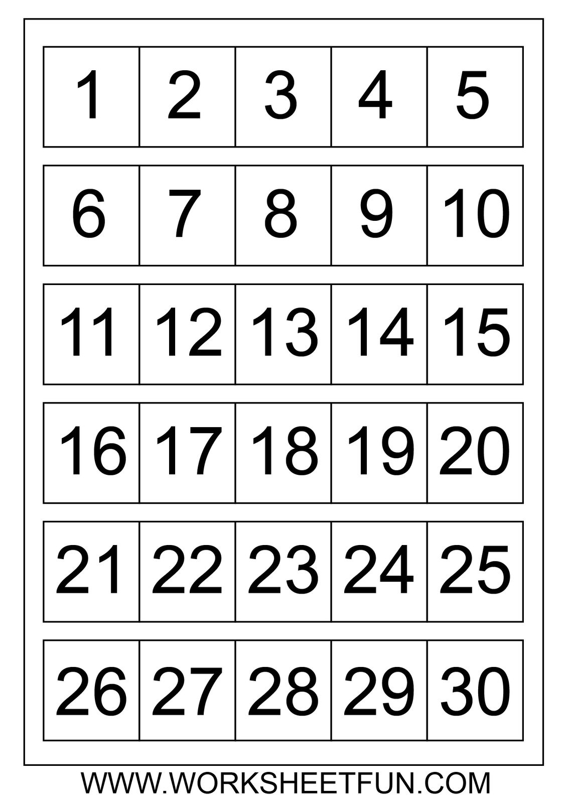 numbers 1 31 to print : free calendar template