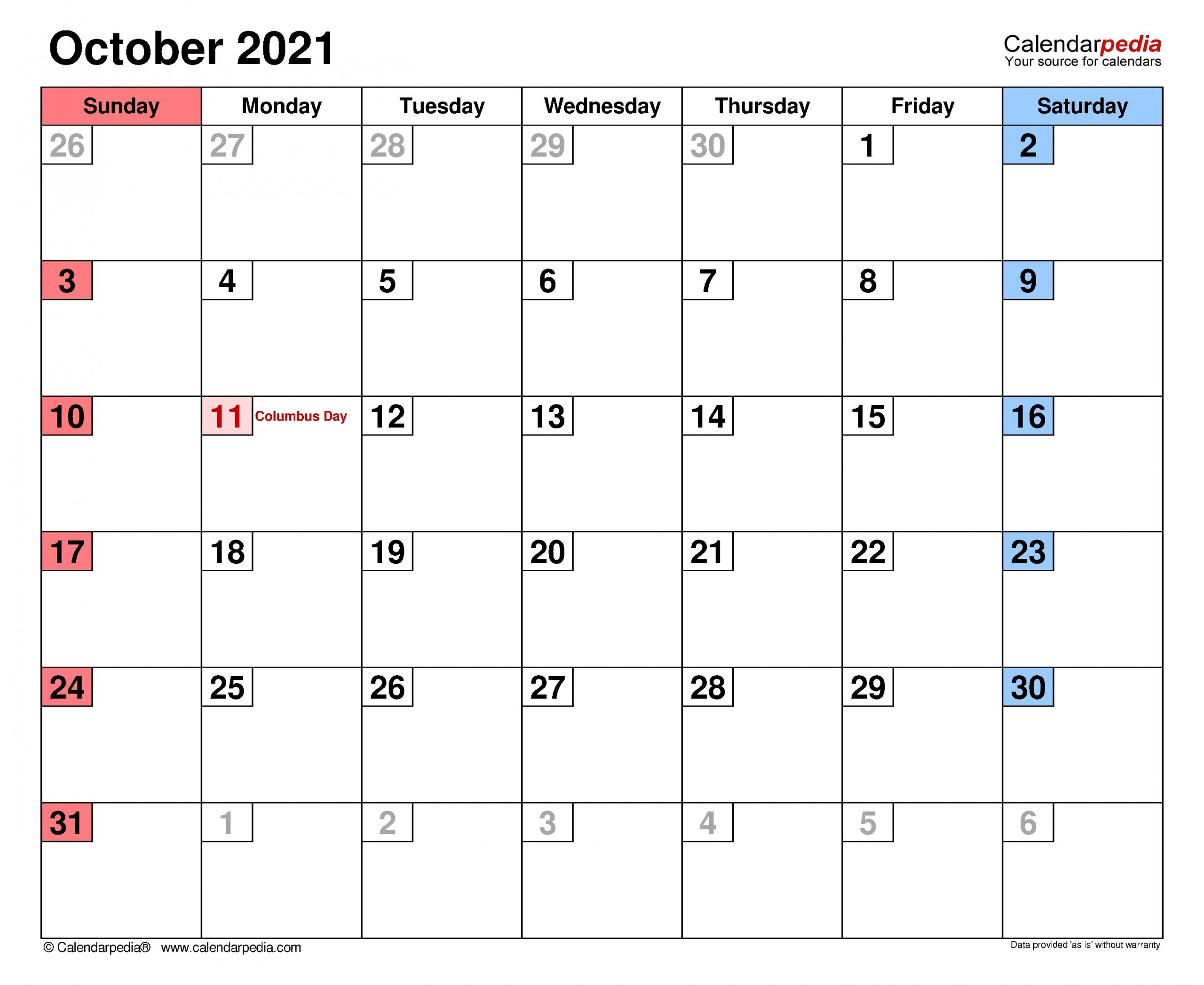 october 2021 calendar with writing space calendar