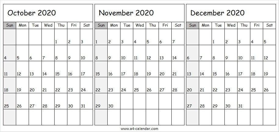 October November December 2020 Calendar A4 A4 Calendar