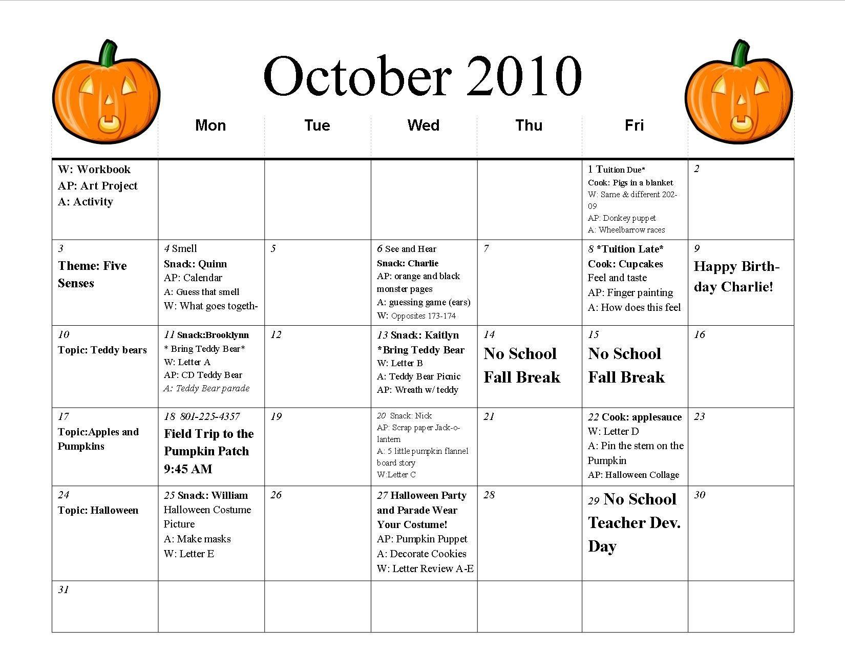 october preschool calendar template | preschool calendar