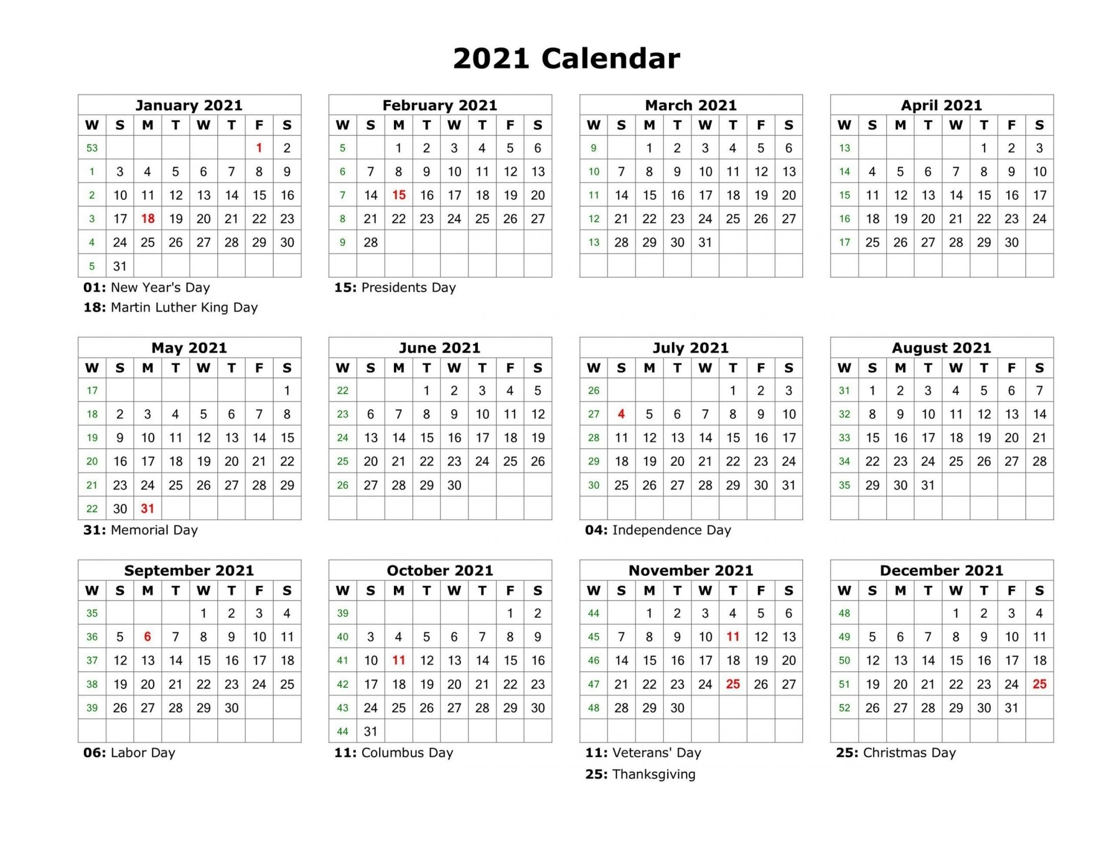 one page calendar 2021 | free letter templates
