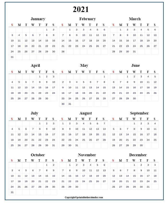 One Page Calendar 2021 [free Printable Template