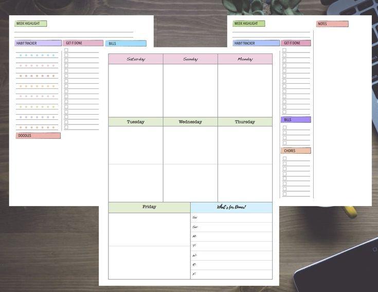 pastel week with dashboard saturday start undated weekly