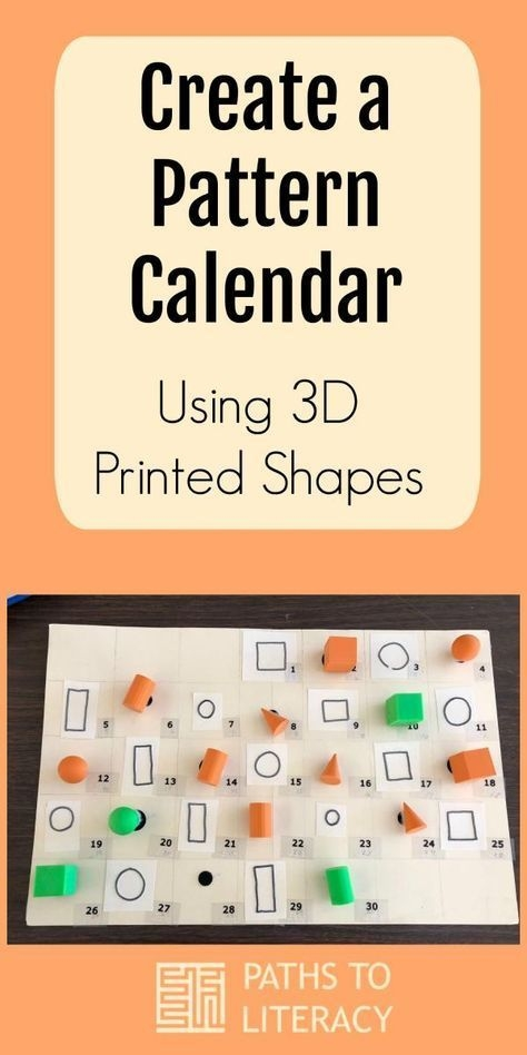 pattern calendar with 3d printed shapes   tactile learning