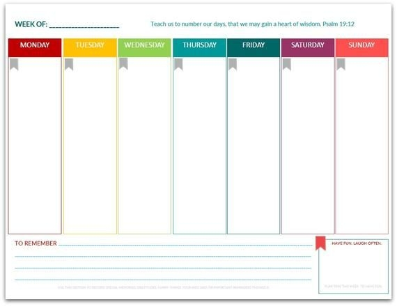 Pdf: Week At A Glance One Page Planner