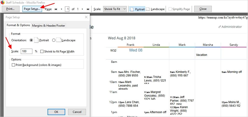 print calendar in larger font size