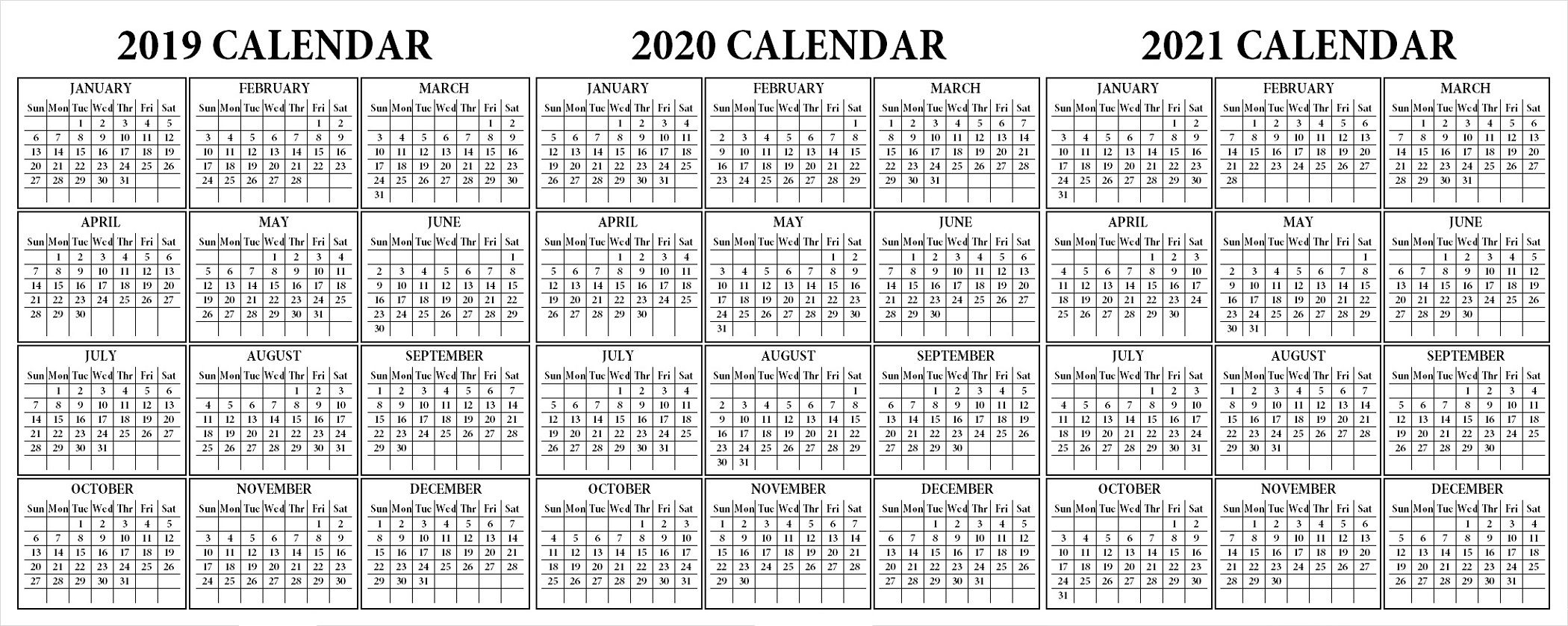 printable 2 year calendar 2020 2021 | calendar template