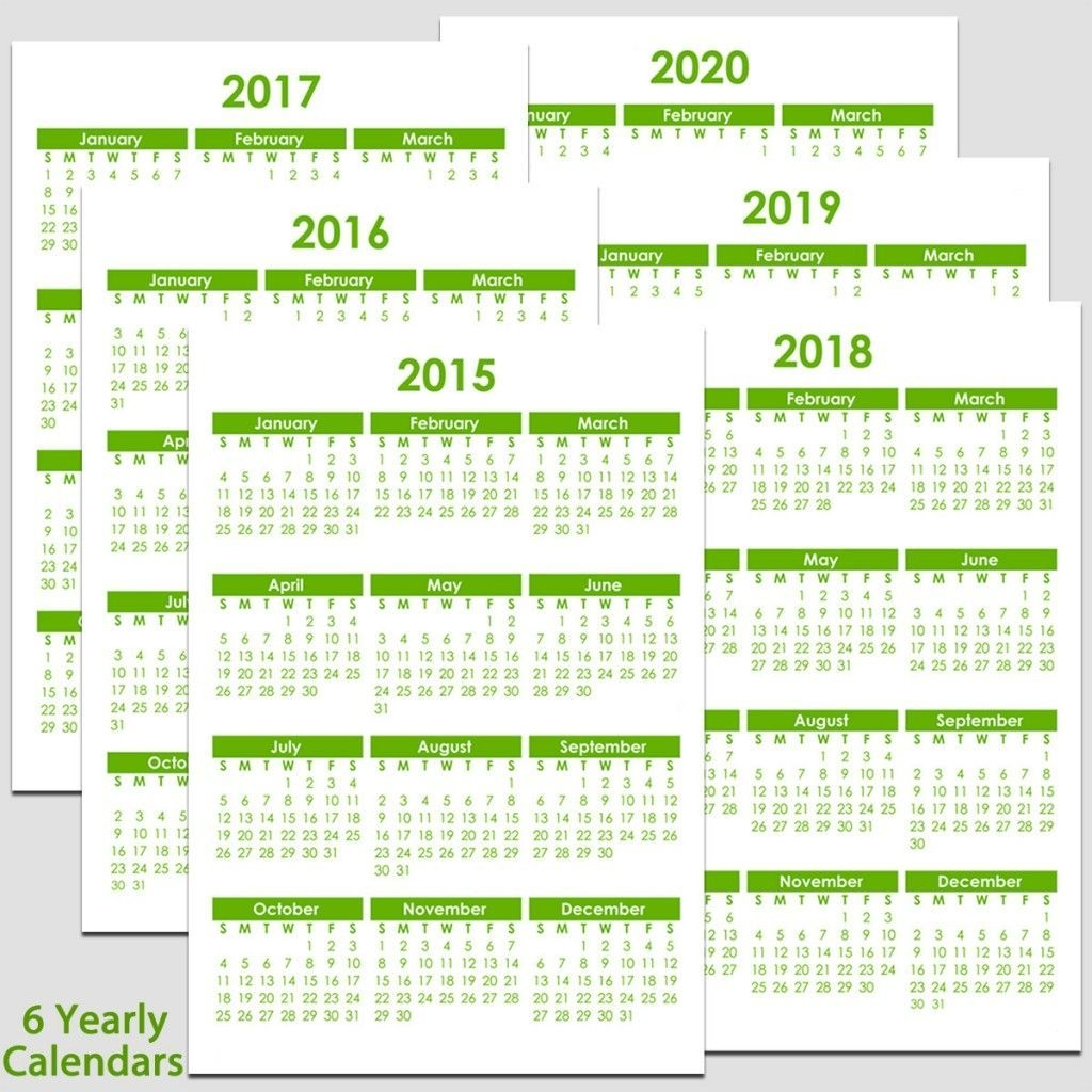 printable 2015 to 2020 yearly calendar 8 1/2″ x 11″ the